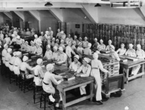 WWII Munitions Plant Workers Filling Fuses at GECO in Scarborough, Ontario