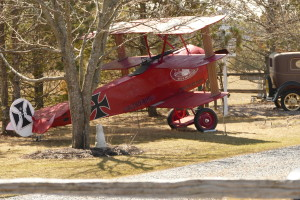 Replica of a 1918 Fokker DR 1, the plane flown by the Bloody Red Baron in WWI.